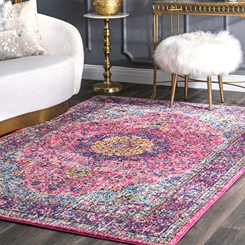 Traditional Persian Vintage Fancy Pink Rugs, 5 Feet by 7 Feet 5 Inches (5' x 7'5) -