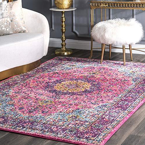 Raspberry Rug Rug - nuLOOM Persian Verona Distressed Area Rug, 8' x 10', Pink