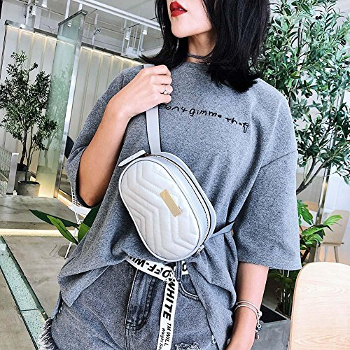 Bags Chain Waist Women Crossbody Fanny Domybest Silver Oval Shoulder Leather Packs Casual OwqcC64