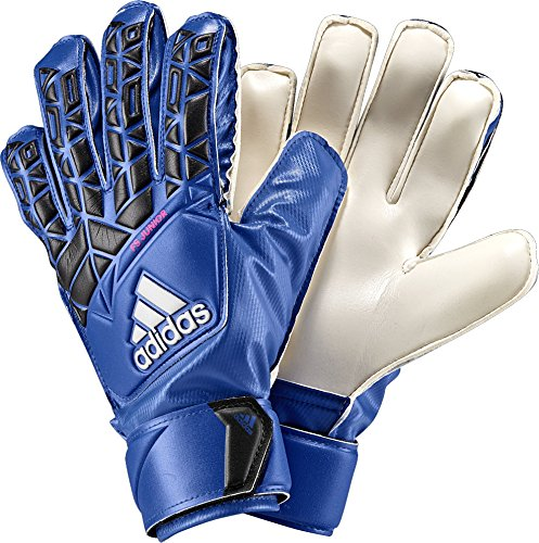 adidas Performance ACE Fingersave Junior Goalie Gloves, Blue/Core Black/White/Shock Pink, Size 5