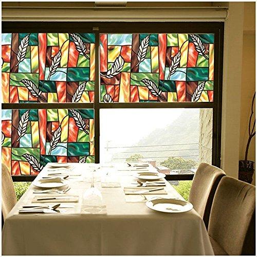 VEOLEY Colourful Pattern Window Film Static Window Cling Film Window Sticker for Home/Office/Shop Window Treatment, 1.5Ft x 6.5Ft