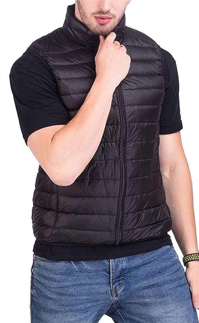 Pcutrone Men Winter Stand Collar Zipper Sleeveless Quilted Jacket Down Vest