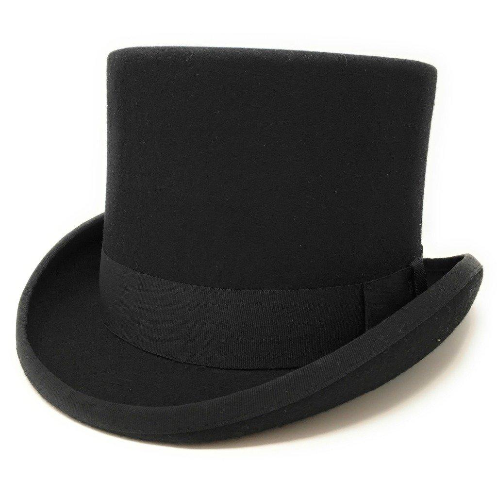 Cotswold Country Hats Black Wool Felt Tall Top Hat, Medium, Large, XL, XXL, 57cm, 59cm, 61cm, 63cm