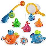 Dwi Dowellin Bath Toys Mold Free Fishing Games Swimming Whales BPA Free Water Table Pool Bath Time Bathtub Tub Toy for Toddle