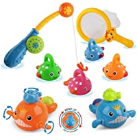 Dwi Dowellin Baby Bath Toys Mold Free Fishing Games Water Pool Bathtub Toy for Toddlers Kids Infant Girls and Boys Age 2 3 4 5 6 7 Years Old Fun Bath Time Bathroom Tub Wind Up Swimming Whales Fish Set