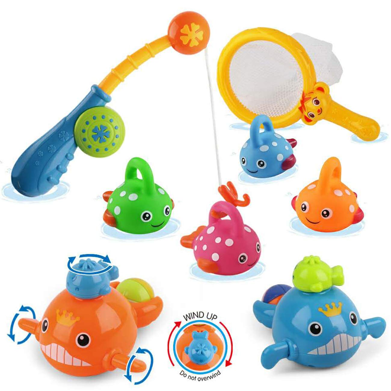 Dwi Dowellin Baby Bath Toys Mold Free Fishing Games Water Pool Bathtub Toy for Toddlers Kids Infant Girls and Boys Fun Bath Time Bathroom Tub Wind Up Swimming Whales Fish Set