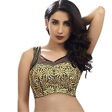 Amazon.com  Bollywood Blouses Women s Gorgeous Sleeveless Net Designer Saree  Blouse Black  Clothing