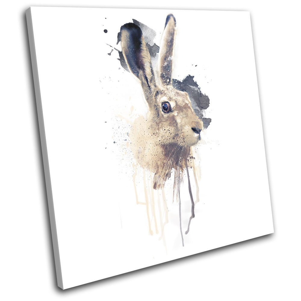 Bold Bloc Design - March Hare Rabbit Paint Abstract Animals 40x40cm SINGLE Canvas Art Print Box Framed Picture Wall Hanging - Hand Made In The UK - Framed And Ready To Hang Bold Bloc Design Ltd.