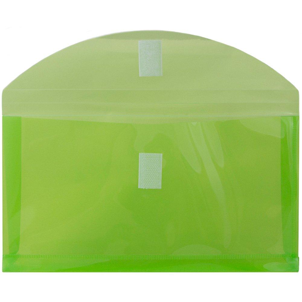 Lime Green JAM PAPER Plastic Expansion Envelopes with Hook & Loop ...