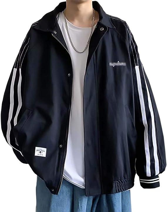 [Make 2 Be] 長袖 アウター ジャンパー ブルゾン 襟付き サイドライン 薄手 ジップアップ スナップボタン ライトアウター カジュアル スポーティ リブ 防寒 防風 T10