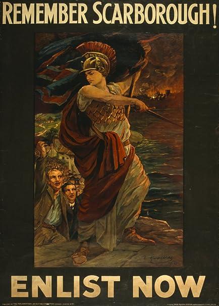 ENLIST NOW British WW1 Propaganda Poster REMEMBER SCARBOROUGH