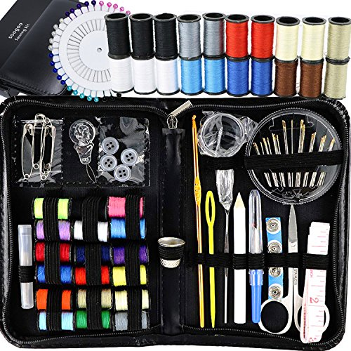 Sewing Kit, Emergency Travel Sewing kit 134 Premium Sewing Supplies with Tread, Sewing Pins, Needles, Tape Measure and Accessories for Kids, Beginners, Adults,Camping - Black Beige Backup