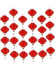 Aniparty - 25 farolillos Rojos Chinos de Año Nuevo con Personaje de Fu, para decoración