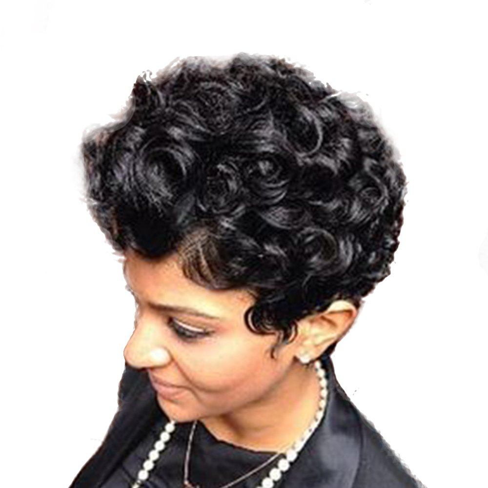 Women Short Curly Brazilian Virgin Human Hair (Natural Spiral Curls, Black) - Human Hair Wigs -Short with Capless Wig for Daily& Wedding Wear 8 Inches by mufly (Image #4)