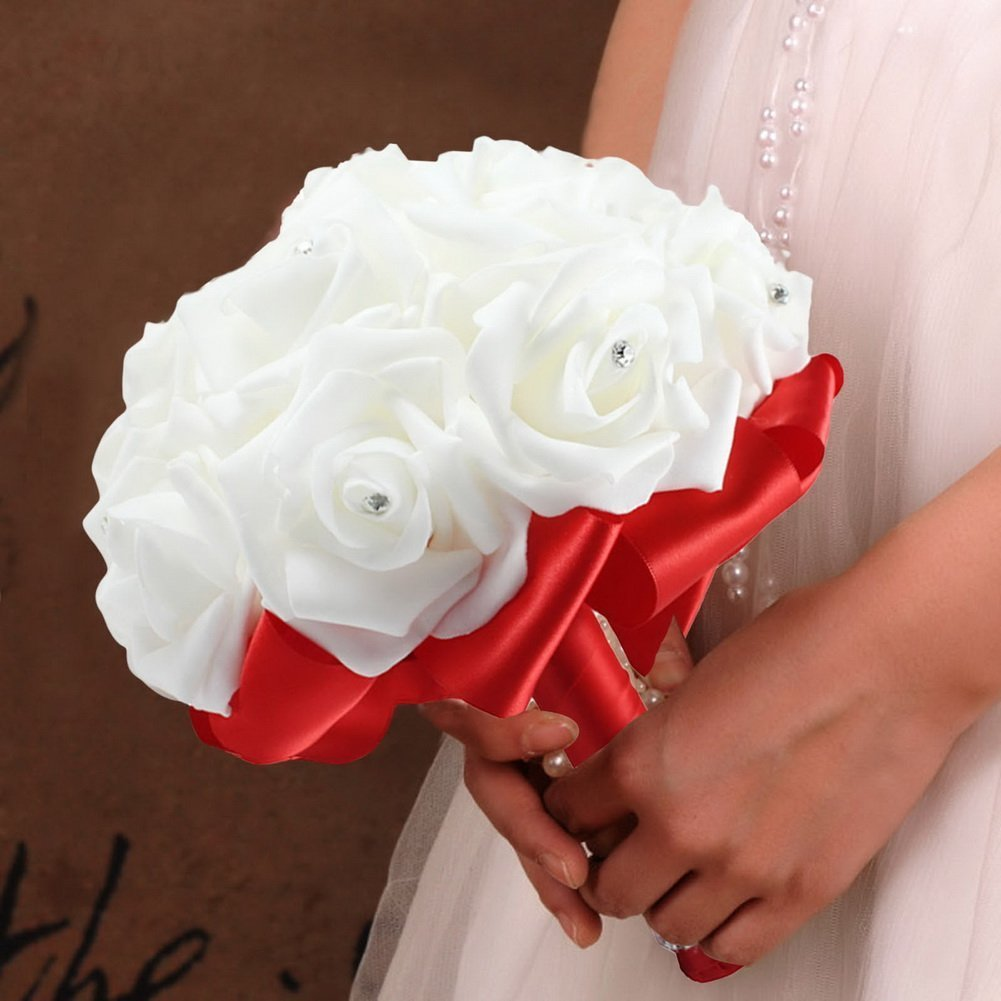 Amazon.com: StillCool Wedding Bouquets, Crystal Pearl Silk Roses ...