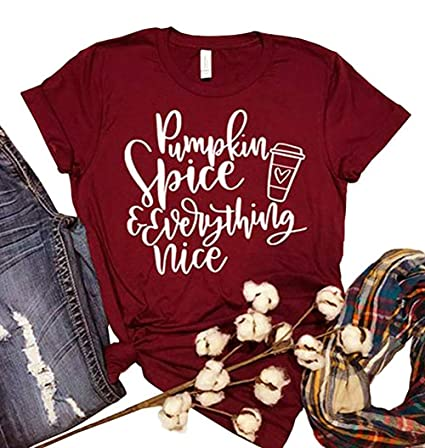 48b71432545 Amazon.com  ALLTB Thanksgiving Pumpkin Spice and Everything Nice Latte T  Shirts Womens Letter Printed Fall Graphic Tee Shirt Tops  Clothing