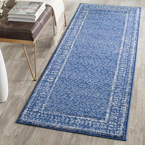 Safavieh Adirondack Collection ADR110F Light Blue and Dark Blue Vintage Distressed Runner (2'6'' x 22') by Safavieh