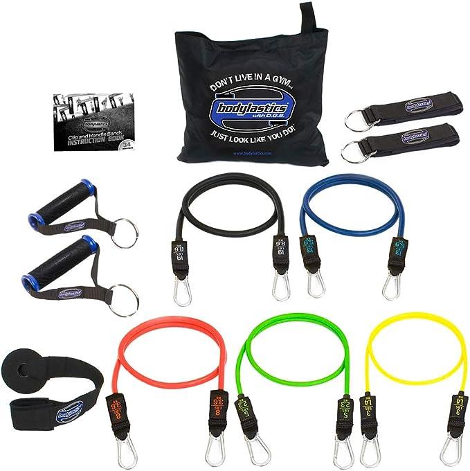 Bodylastics - 12 piezas de resistencia conjunto con 5 tubos de ejercicio apilables anti-rotura, componentes fuertes, bolsa de transporte e ...