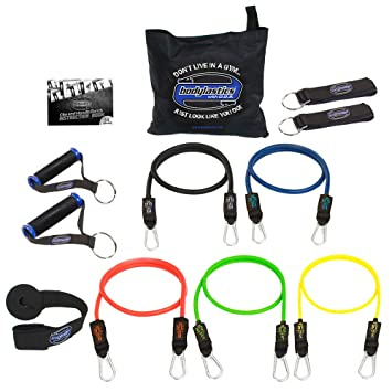 Bodylastics 12 pcs Max Tension Resistance Exercise Bands Set. This super tough system features Professional quality components at a non-professional price. You get 5 Stackable and Patented Malaysian L at amazon