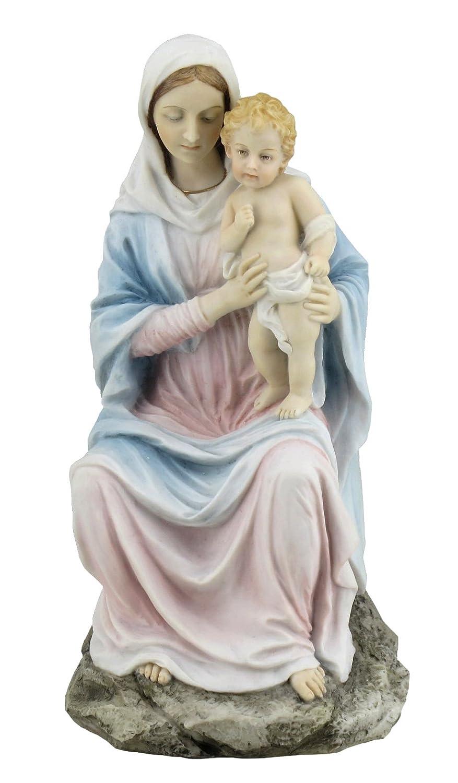 Religious Figurine Mother Mary Holding Baby Jesus 8 1//4 Inch Light Color Stone Statue Unicorn Studio