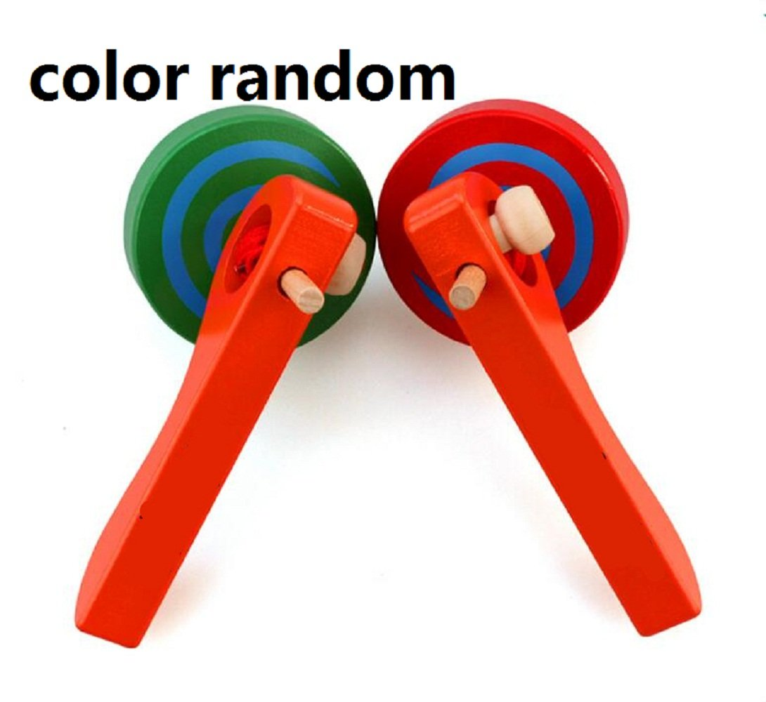 Two Pieces Elloapic Wooden Handmade Painted Wooden Spinning Top gyroscope peg-top With handle and Pull String Wire Last long time color random