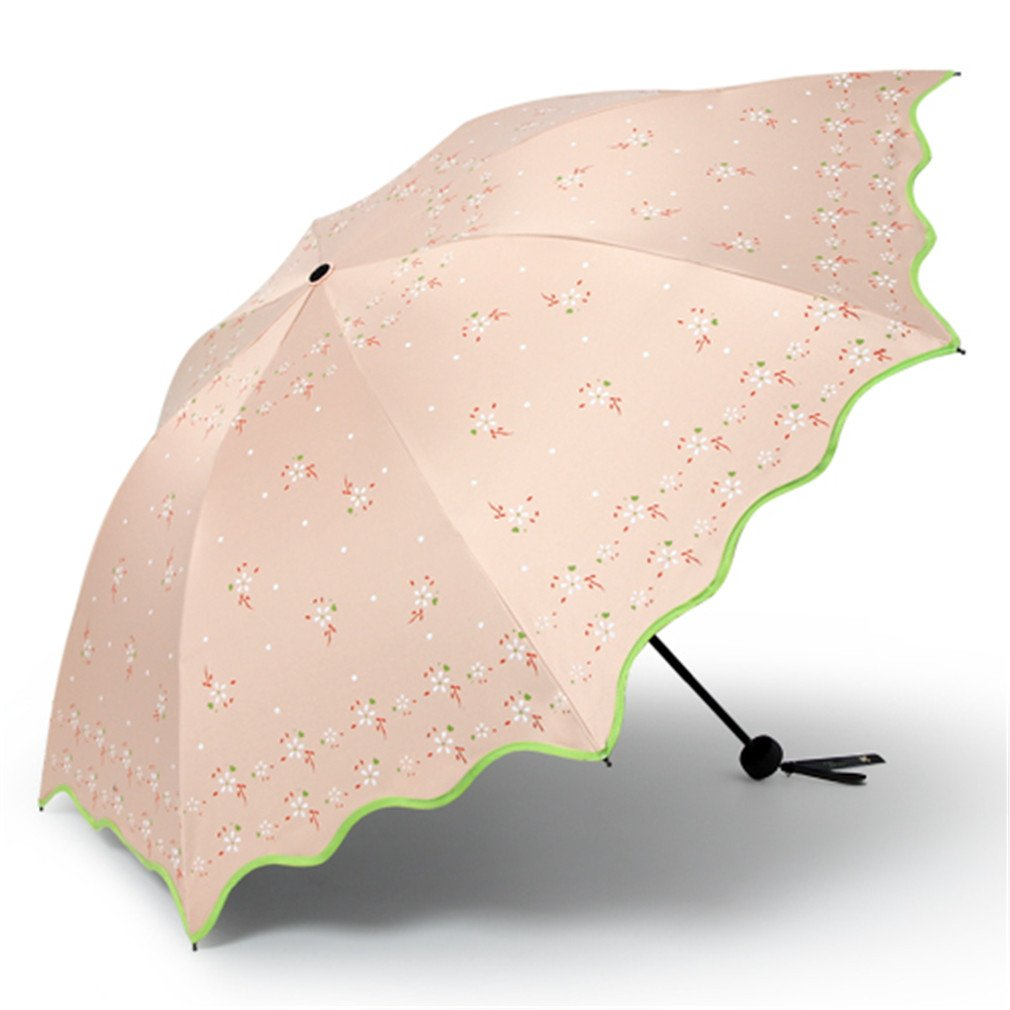 Guoke The Black Plastic Super Sunscreen Uv Protection Umbrellas With A Fine Of Two Umbrella Folded, Torn - Flowers - The Rose-Gold