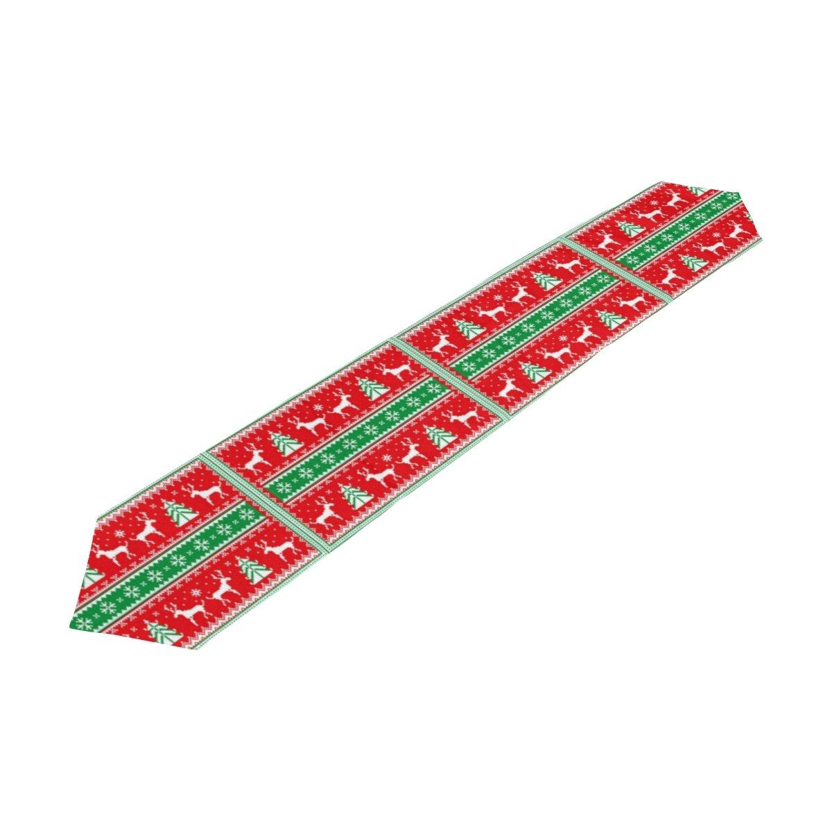 naanle冬クリスマスHoliday両面ロングテーブルランナー、トナカイクリスマスツリーポリエステルテーブルトップ装飾ホームデコレーション 13 x 90 1086494p121c135s192 13 x 90 マルチカラー B074CDTXLZ