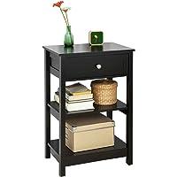 SoBuy® FBT46-Sch Table de Chevet Table de Nuit Bout de Canapé Table d'Appoint avec 1 tiroir et 2 étagères de Rangement - Noir