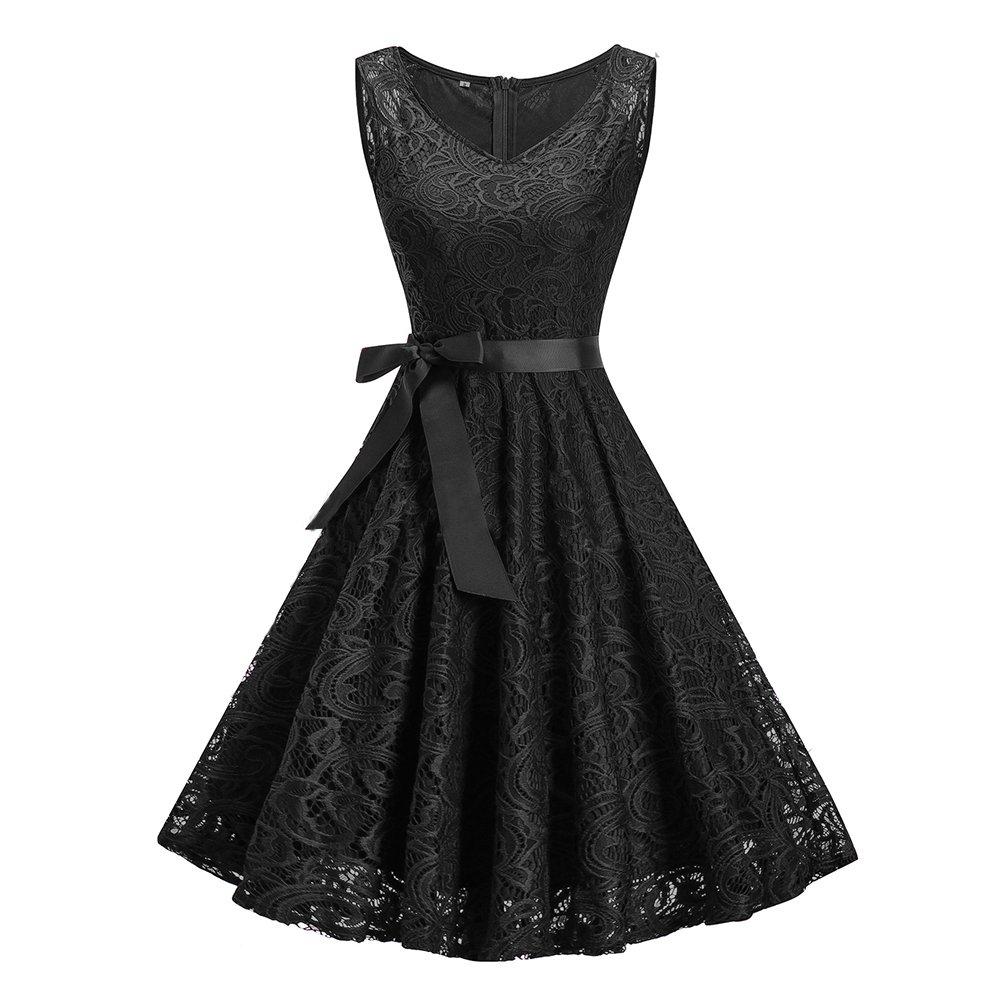 Black Pevor Women's Vintage Floral Lace Fit and Flare Bridesmaid Dress V Neck Aline Swing Party Prom Cocktail Dresses