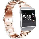 Kartice for Fitbit Ionicバンド スマートウォッチ交換ベルト フィットビット 腕時計ベルト 高品質ステンレス製バンド 調整工具が付き(ローズゴールド)