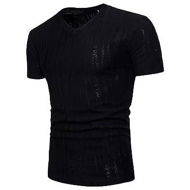 new arrival a3c29 10084 Celucke Einfarbige T-Shirt Herren Stretch Basic Kurzarm Tops ...