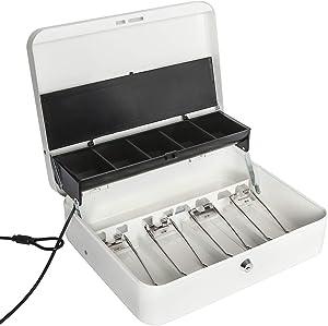 Jssmst Large Locking Cash Box with Money Tray, Metal Money Box with Key Lock, White
