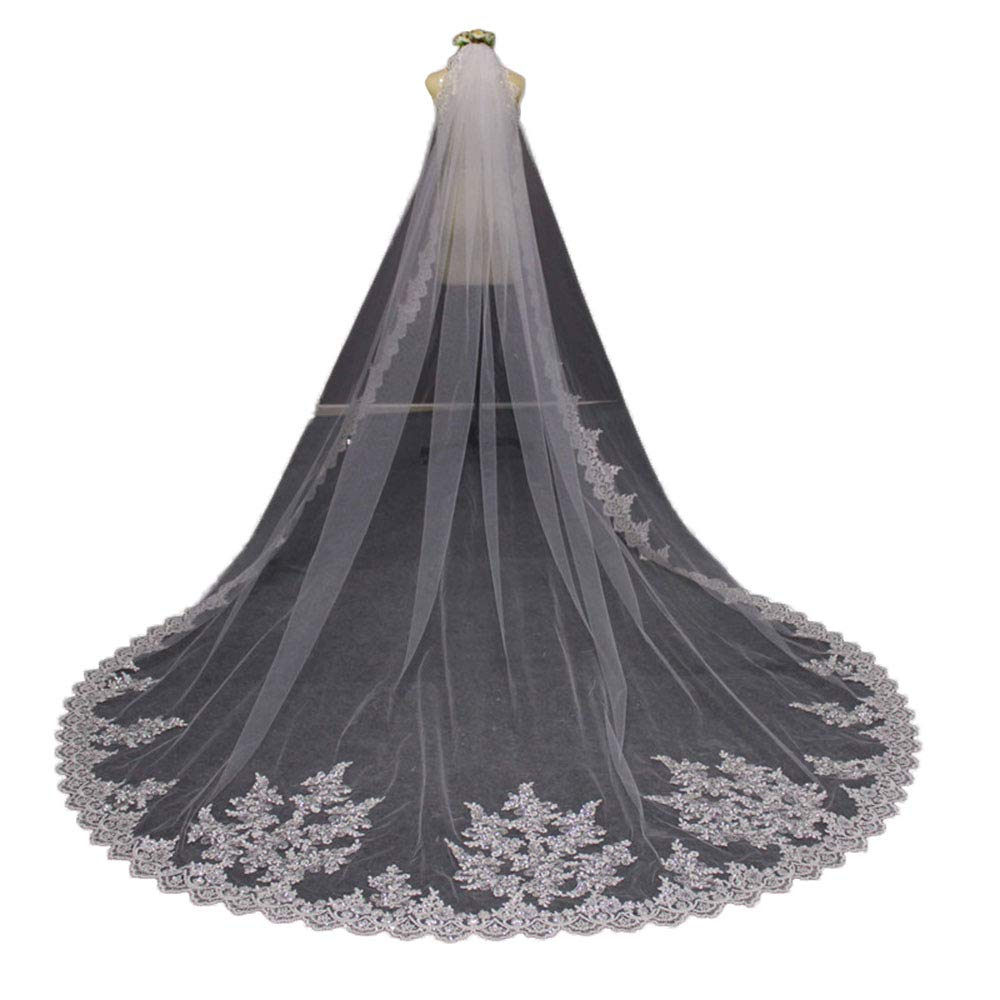 Faithclover Wedding Veils White 1 Tier Sequins Lace Cathedral Long with Comb