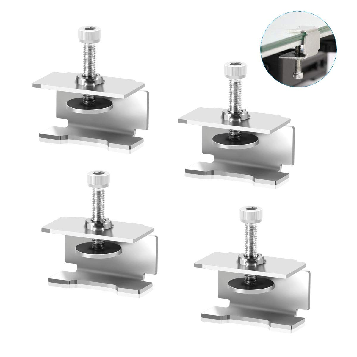LANMU GLASS BED CLIPS CLAMPS COMPATIBLE ENDER 3   3 PRO   V2   3S ENDER 5   PRO CR-20 PRO CR-10S PRO ADJUSTABLE STAINLESS STEEL 3D PRINTER HEAT BED CLIPS(PACK OF 4)