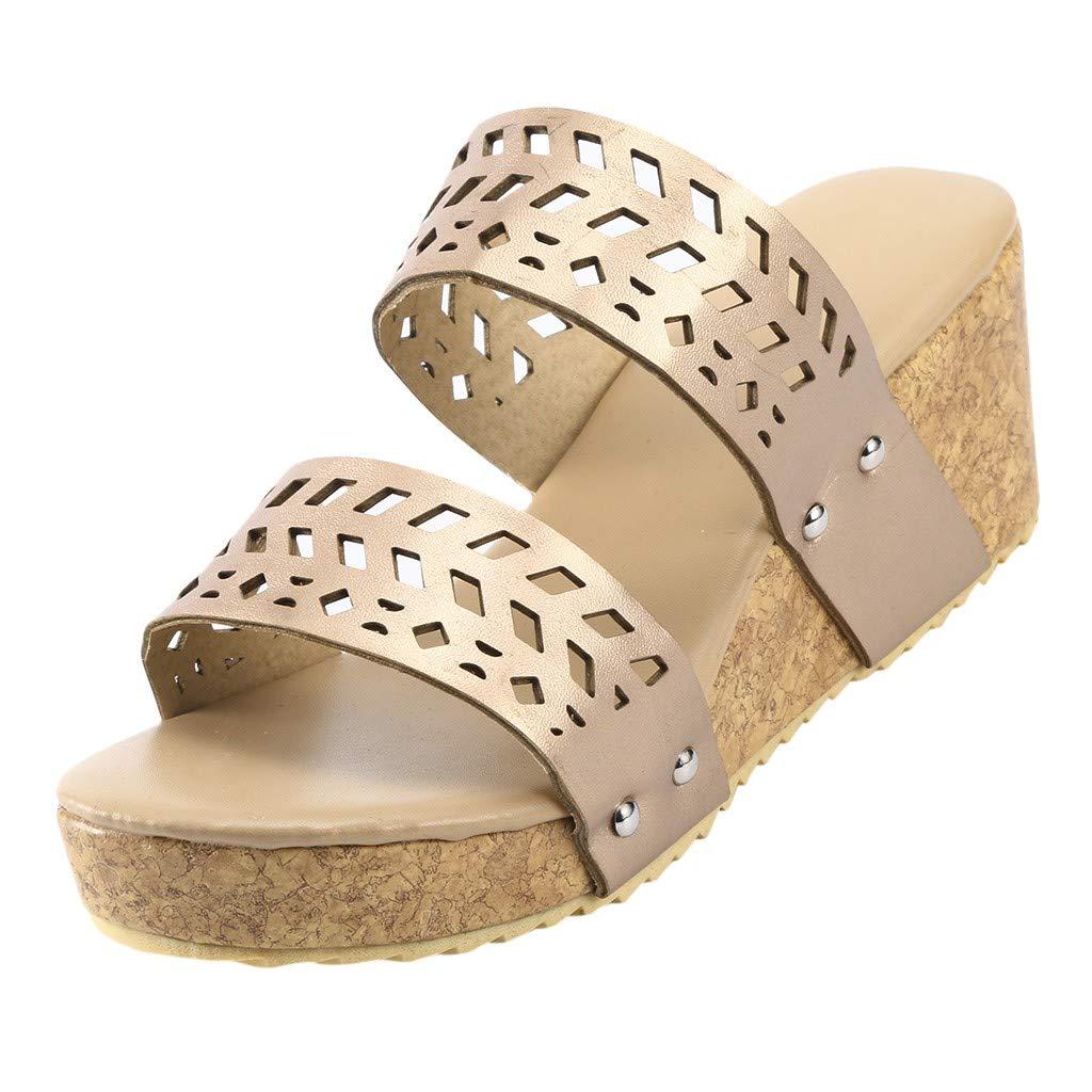 ℱLOVESOOℱ Women Strap Wedge Platform Slip-On Slide Sandals Cork Faux Summer Slippers Hollow Dress Shoes Plus Size Gold