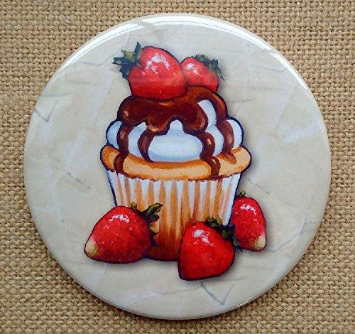Fridge Magnet: 3.5', Cupcake Art: Chocolate Covered Cupcake with Five Strawberries, From Original Art