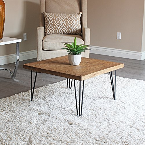 WELLAND Rustic Square Old Elm Coffee Table ()