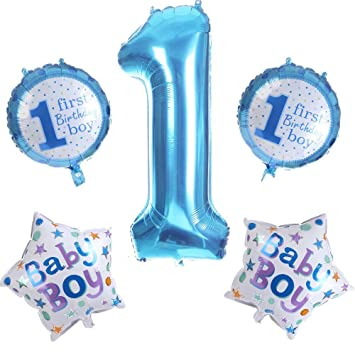 Amazon LuckyStar365 First Birthday Party Balloons DecorationsPhoto Props For 1st BirthdayBaby Boys Girls Air DecorationsHappy