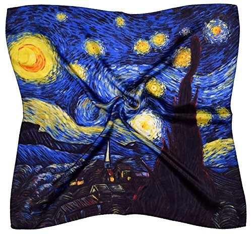Thick Silk Scarf (Blue Yellow Abstract Night Sky Printed Small Square Thick Silk Scarf)