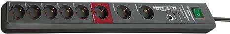 Brennenstuhl Secure-Tec, Steckdosenleiste 8-fach mit Überspannungsschutz und Master Slave Funktion (3m Kabel und Schalter) Fa