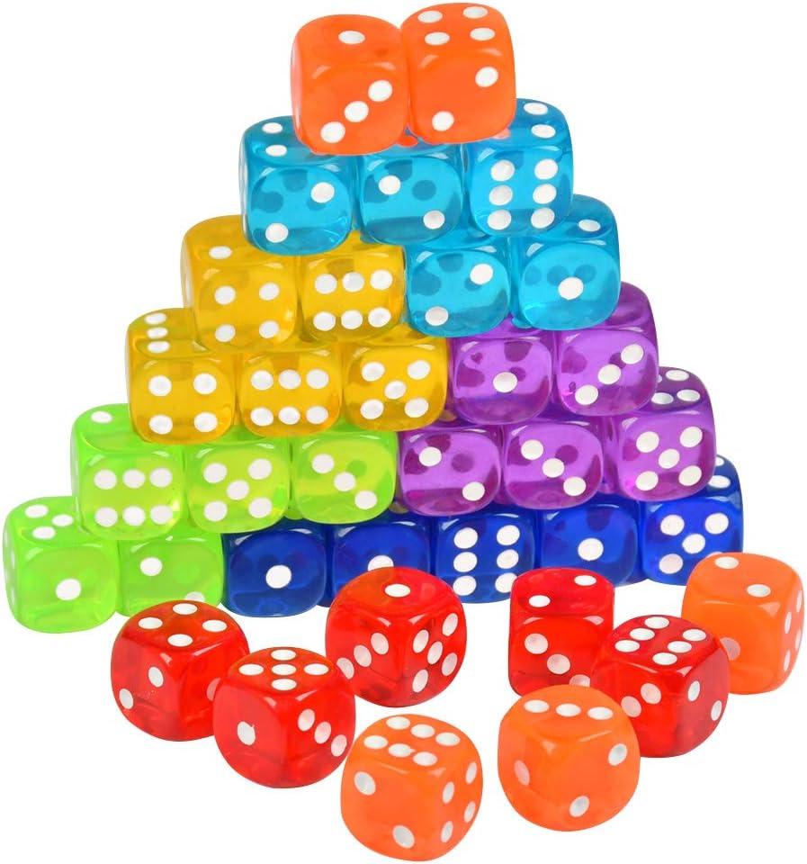 YOTINO Juego de Dados estándar de 35 Piezas Juego de Dados de Esquina Redonda de 6 Lados 7 Dados de Colores translúcidos con Bolsa de Almacenamiento Gratuita para Jugar Juegos como Tenzi: