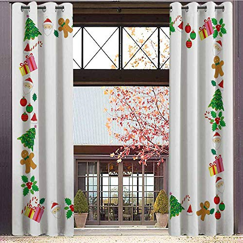 Kids Christmas Blackout curtains - gasket insulation Colorful Border with Different Clip Arts Holiday Festivity Santa Trees Balls Blackout curtains for the living room W72 x L84 Inch Multicolor]()