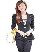 Aro Lora Women's Long Sleeve Jacket Double Notch Lapel Sharp Slim Pleated Blazer