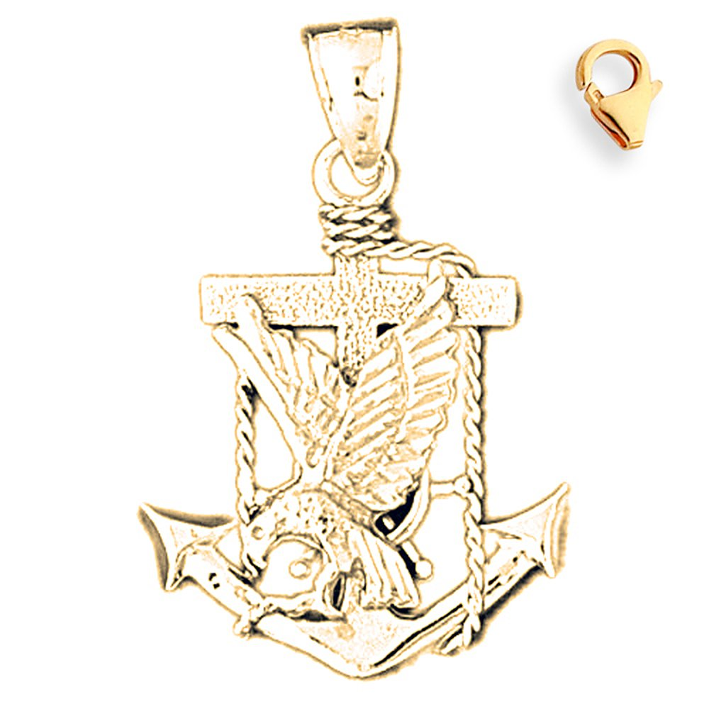 32mm Silver Yellow Plated Anchor Charm