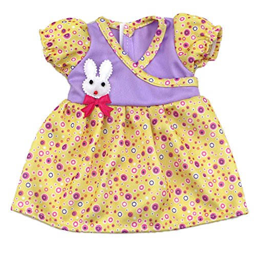 Doll Dress Clothes for Baby Bitty Doll , AOFUL Small Rabbit Decoration Doll Dresses for 12 -15 Inches American Girl Dolls (Bitty Baby Cloth)