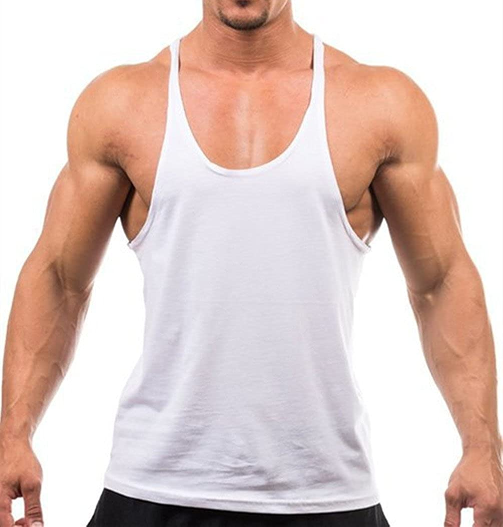 1296355c8c451 Q.Y.Fashion Men s Cotton Blank Stringer Y Back Workout Gym Tank Tops   Amazon.ca  Sports   Outdoors