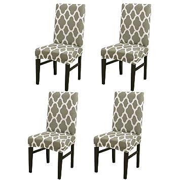 Jian Ya Na - Fundas Protectoras para sillas de Comedor elásticas extraíbles y Lavables, Green Geometry, 4 PCS: Amazon.es: Hogar