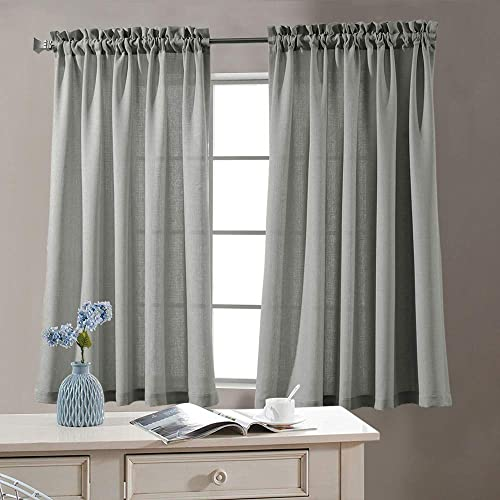 Topick Privacy Semi Sheer Curtains for Bedroom Casual Weave Window Curtains for Living Room 95 inches Long Linen Look Grey Curtain 2 Panels
