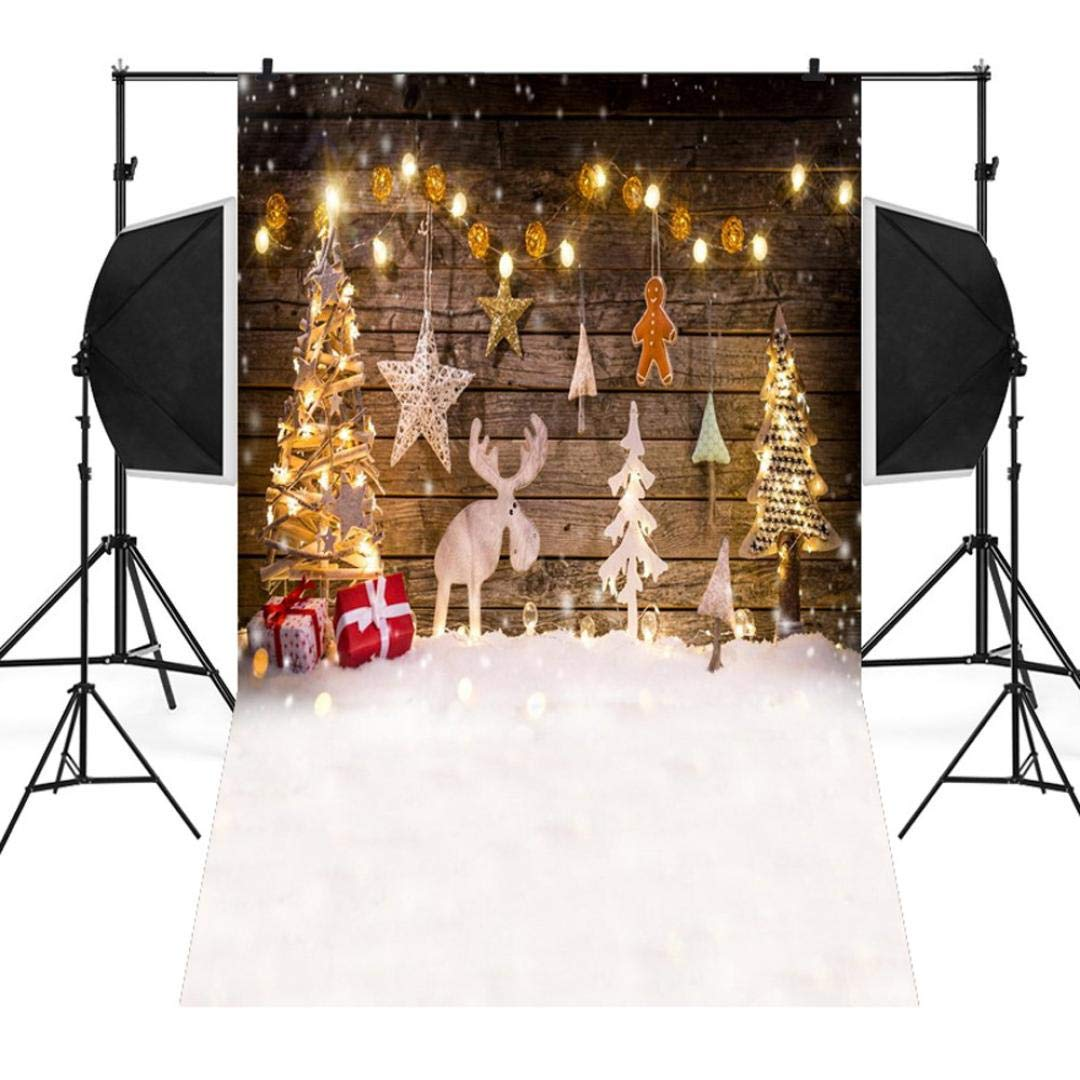 Unpara Christmas Backdrops Tree Fireplace Vinyl Background Photography Studio 3x5FT (A)