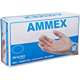 AMMEX - VPF64100-BX - Medical Vinyl Gloves - Disposable, Powder Free, Latex Rubber Free, Exam, 4 mil, Medium, Clear (Box of 100)